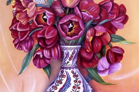 Les tulipes rouges au vase d'IZNIK