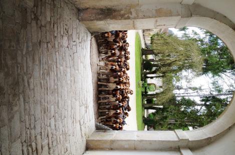 La meute sous le porche de l'abbaye