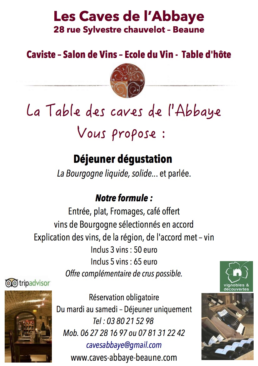 flyer table d''hôte - caves de l''Abbaye