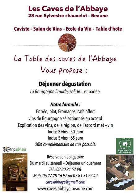 flyer table d'hôte