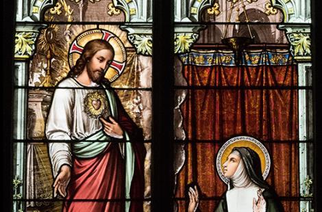 Vitrail de Lucien Bégule 1884 Apparition du Christ à Marguerite-Marie